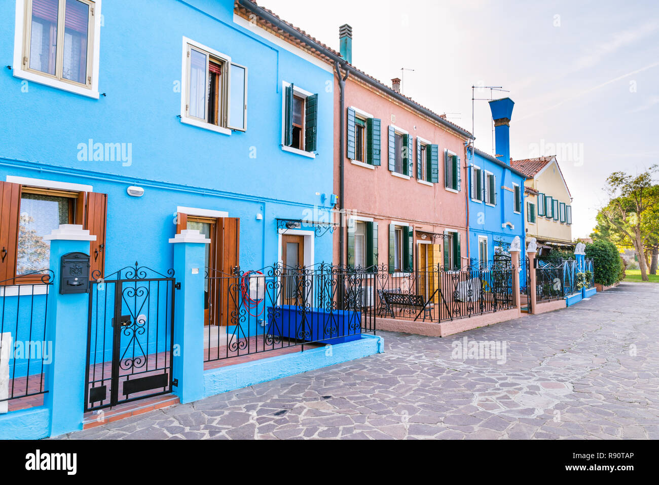 Very beautiful multi-colored houses on  the island Burano, Venice, Italy - Stock Image