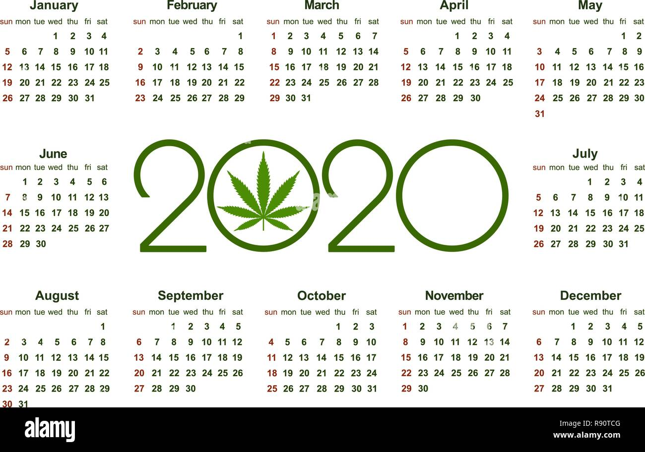 Calendrier Lunaire Cannabique 2021 Marijuana calendar for 2020. Medical Cannabis. Simple Vector