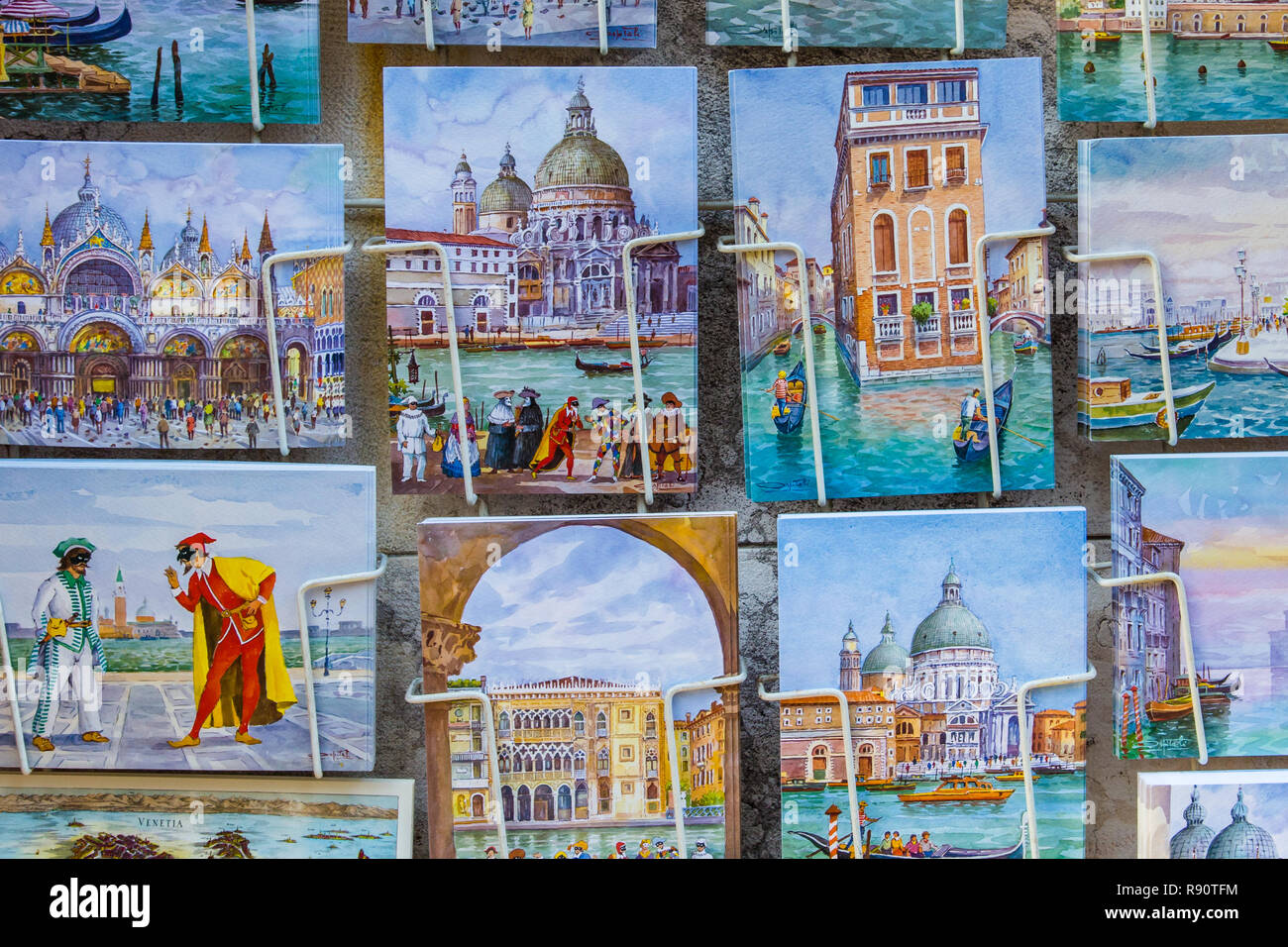 Venice, Italy - October 29, 2016: Postcards or sale in Venice Italy - Stock Image