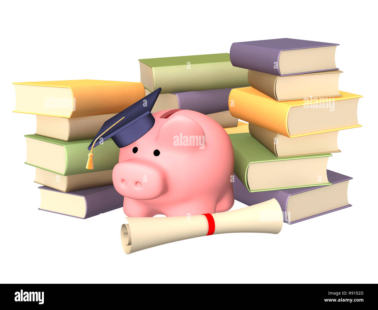 Piggy bank with cap and books. Objects over white - Stock Image