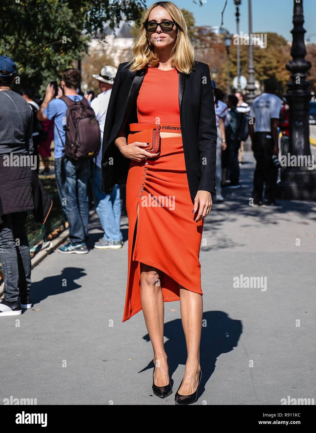 PARIS, France- September 27 2018: Candela Pelizza on the street during the Paris Fashion Week. - Stock Image