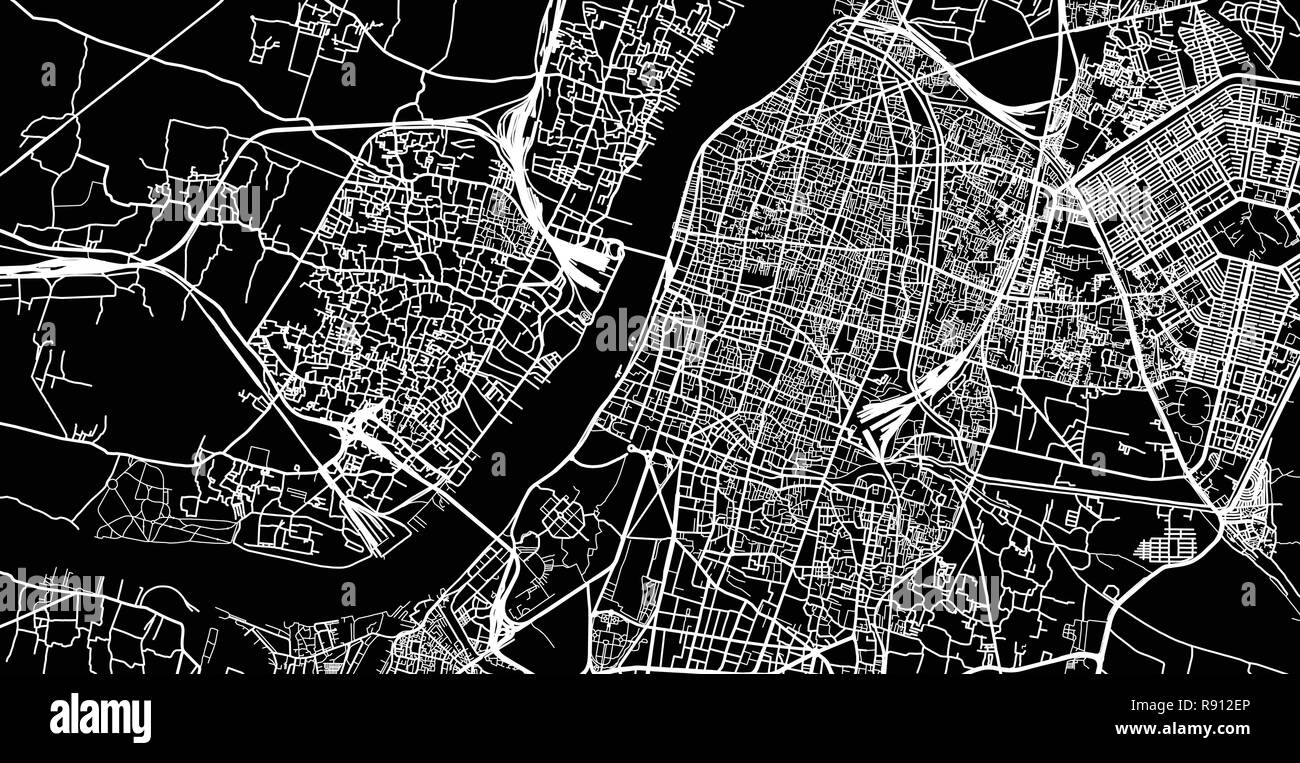 Urban vector city map of Kolkata, India - Stock Vector
