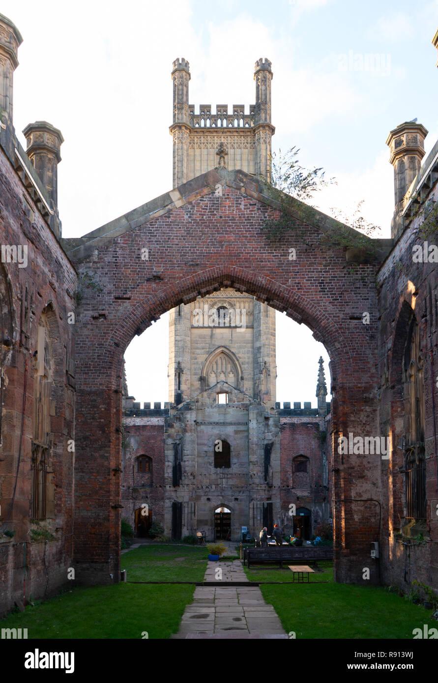 St Luke's Church, Leece Street, Liverpool. Bombed in the 1941 blitz, but the shell survives. Image taken in November 2018. - Stock Image