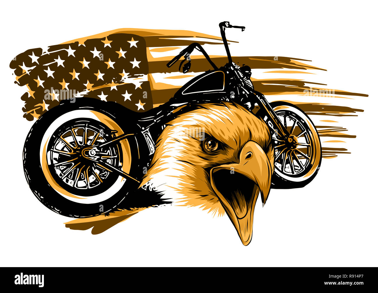 a motorcycle with the head eagle and american flag - Stock Image