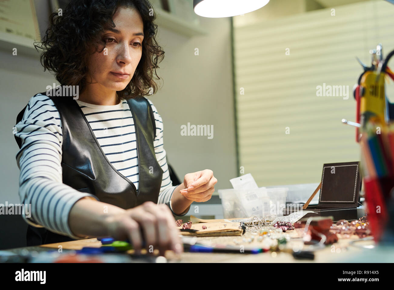 Woman Creating Jewelry - Stock Image