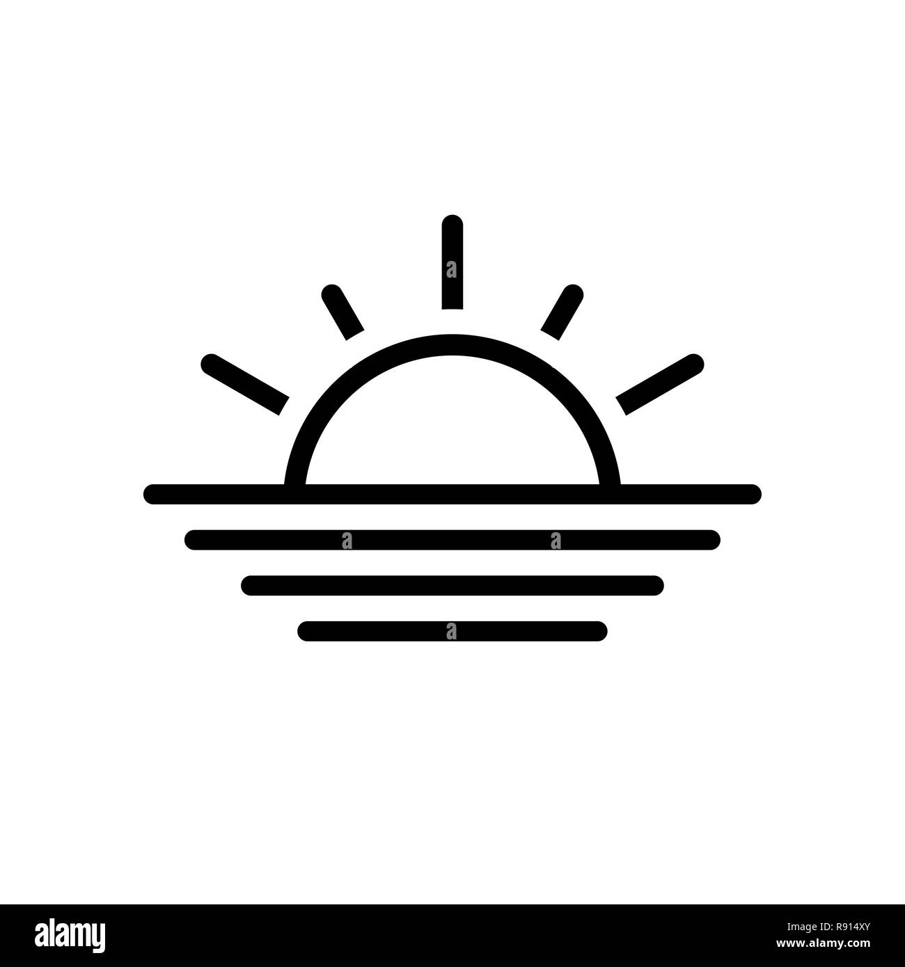 Black thin line sun icon isolated on white - Stock Image
