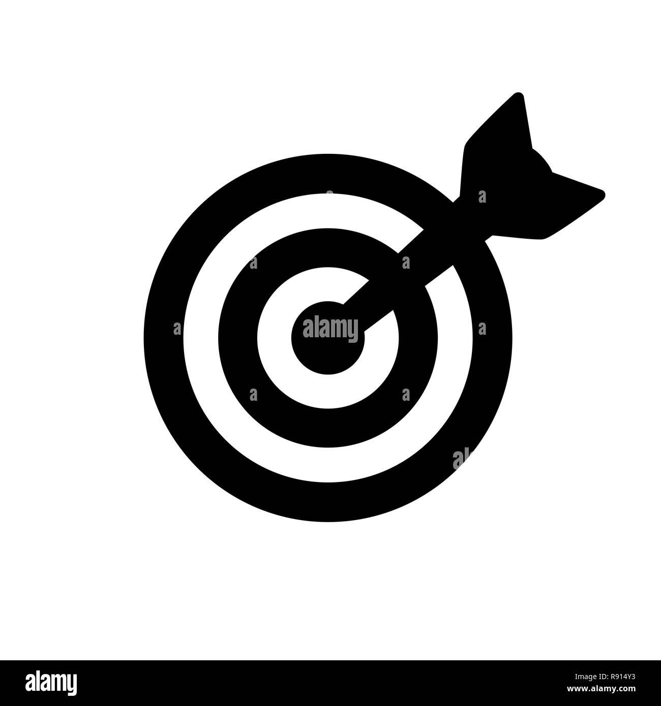Black target icon isolated on white - Stock Image