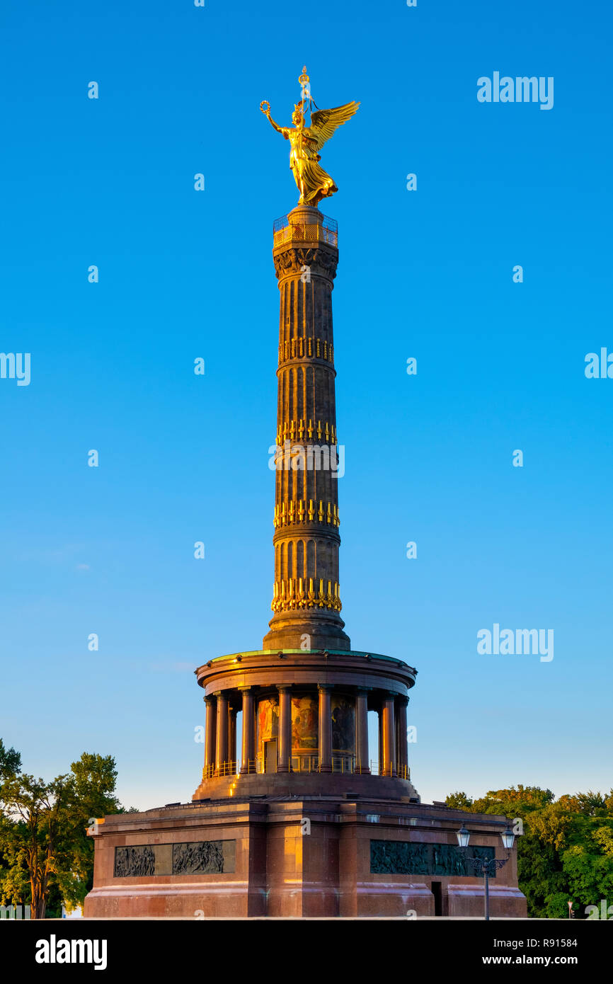 Berlin, Berlin state / Germany - 2018/07/25: The Victory Column - Siegessaule - designed by Heinrich Strack and erected in 1873 in Tiergarten Park at  Stock Photo