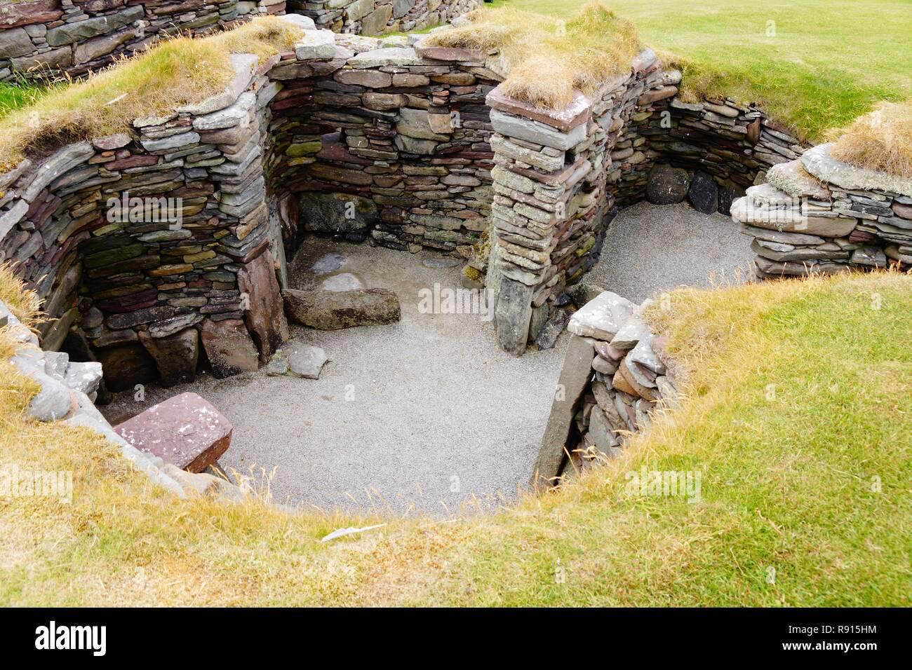 Jarlshof settlement not far from Lerwick. Settled from approximately 2500 to 17th century Stock Photo
