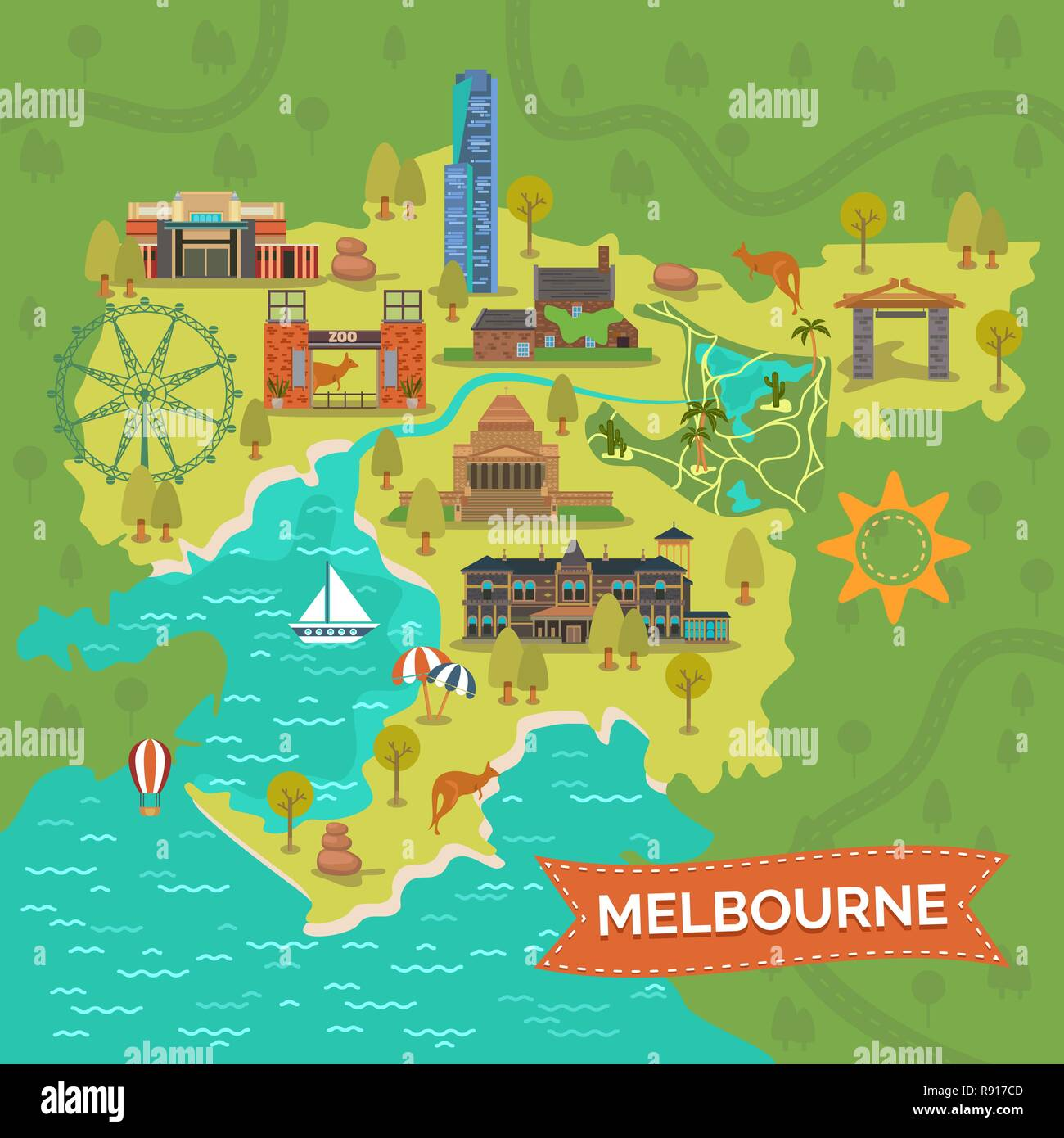 Map Of Melbourne Australia.Melbourne Australia Map Stock Vector Art Illustration Vector