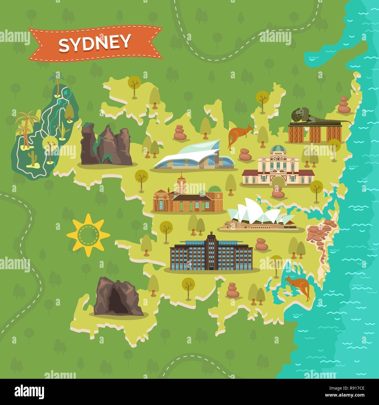 Map of Sydney with landmarks - Stock Image