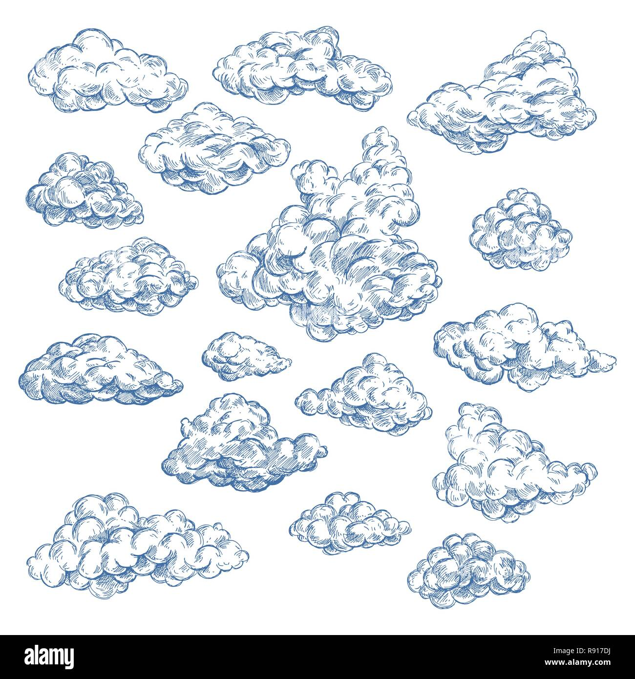 Sky sketch with white clouds. Atmosphere, heaven. - Stock Image