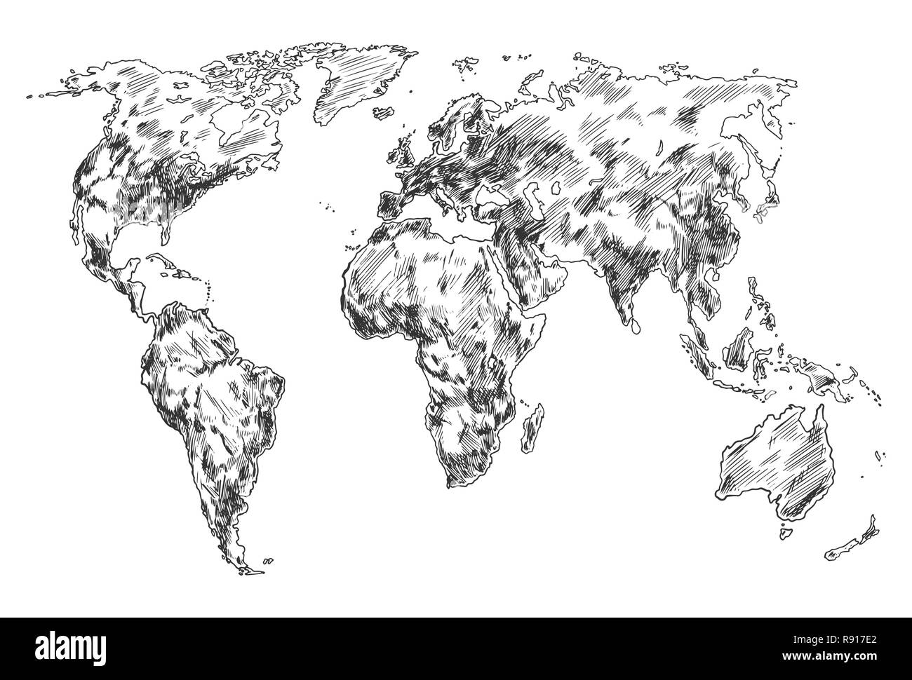 Sketch of Earth world map. Hand drawn continents - Stock Image