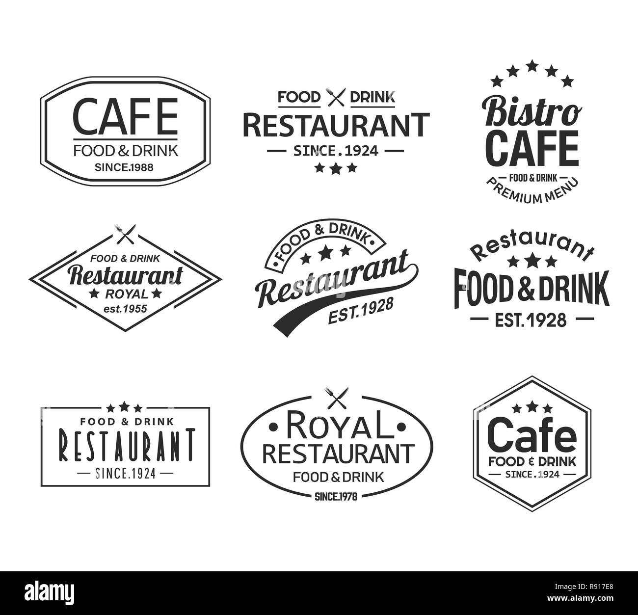 Set Of Isolated Cafe And Restaurant Logos Stock Vector Image Art Alamy