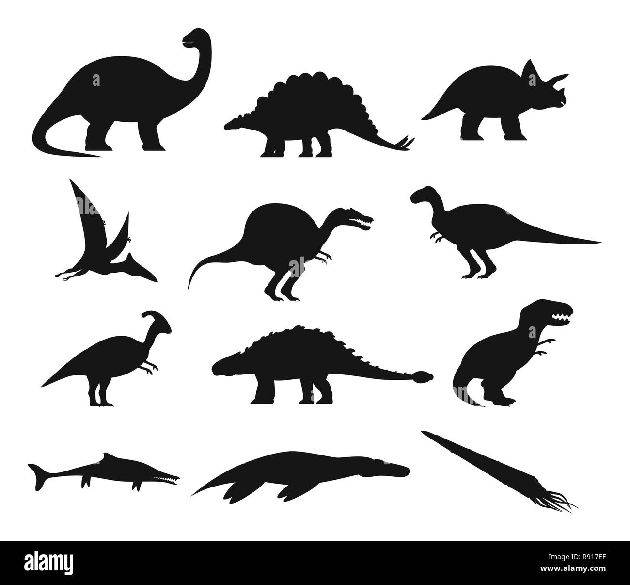 Contour or outline of ancient dinosaurus or dino - Stock Image