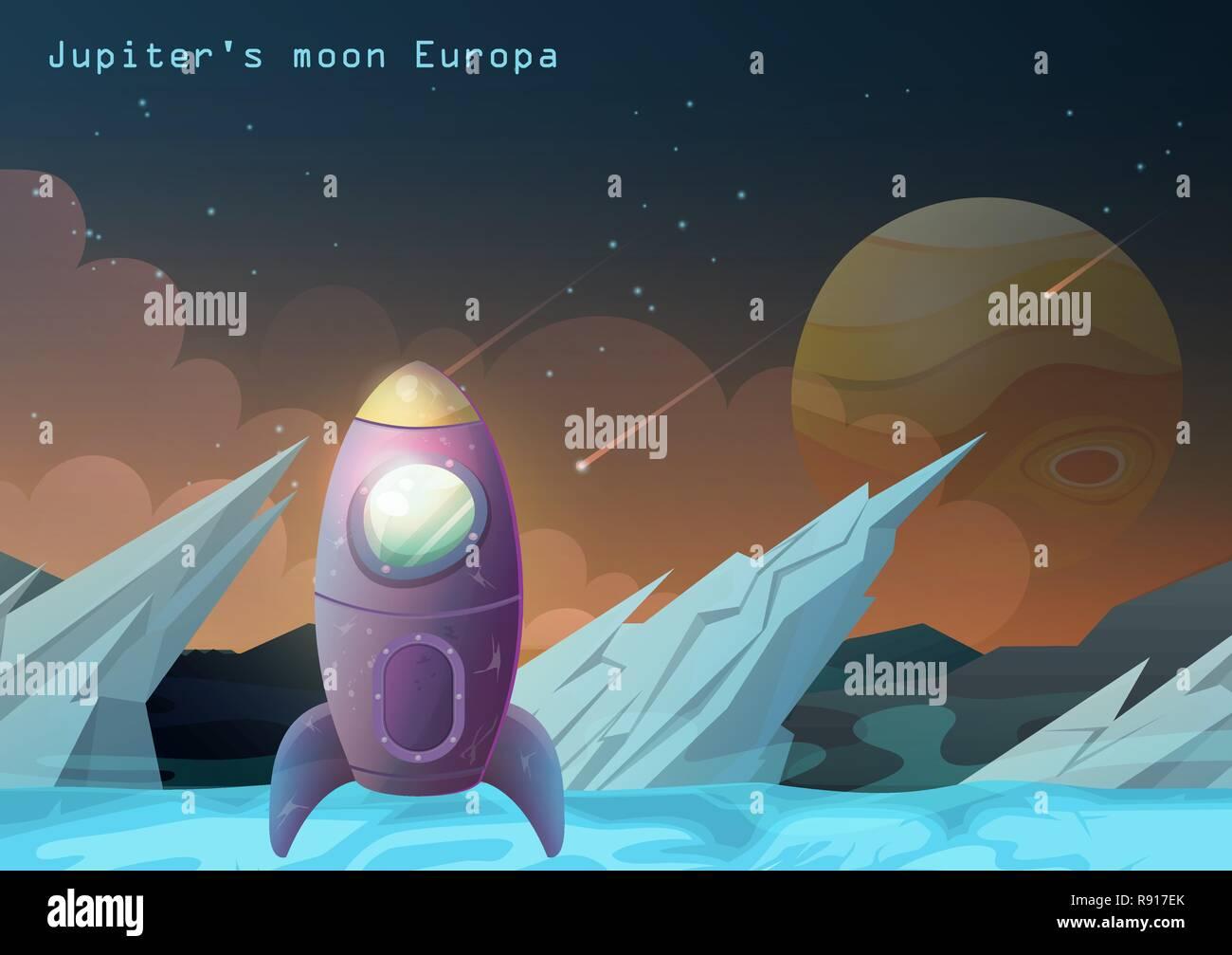 Europa moon, Jupiter satellite with space ship. - Stock Image