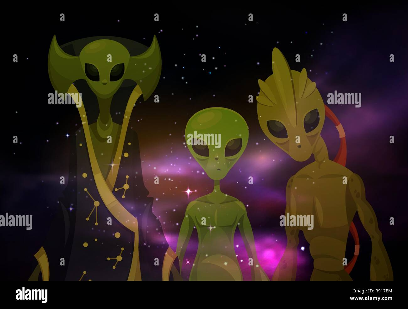 Aliens or martians at space or cosmos. Sci-fi - Stock Image