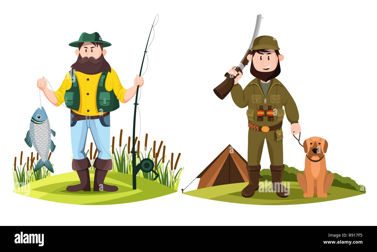 Hunter and fisherman. Hunt man and fisher with rod - Stock Image