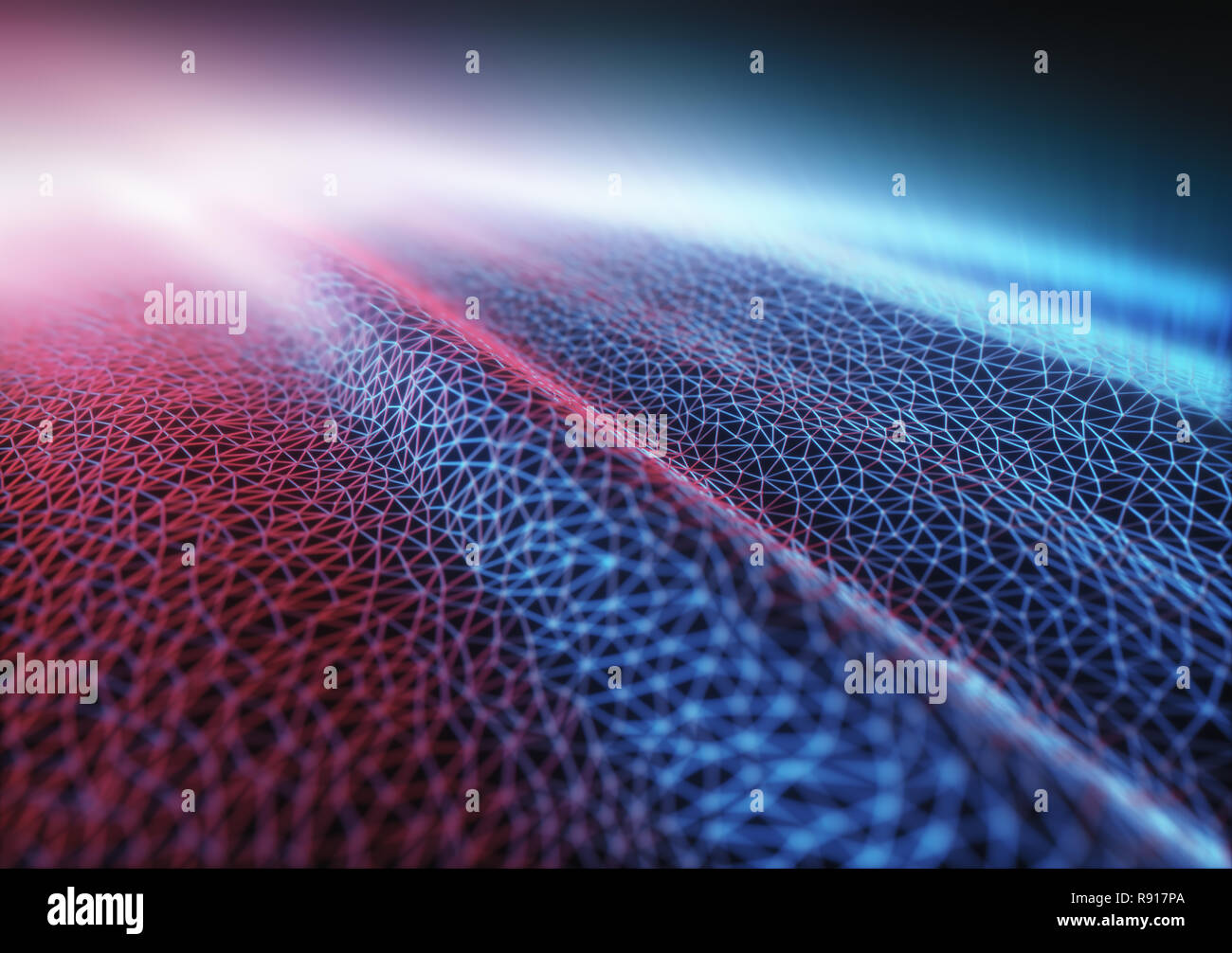 3D illustration. Abstract background image. Colored mesh, interconnected lines. - Stock Image