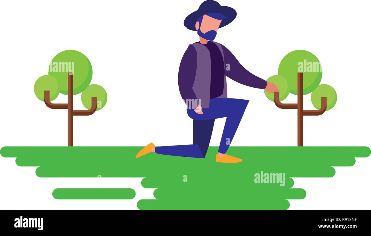 man with hat on the knee natural outdoor vector illustration - Stock Vector