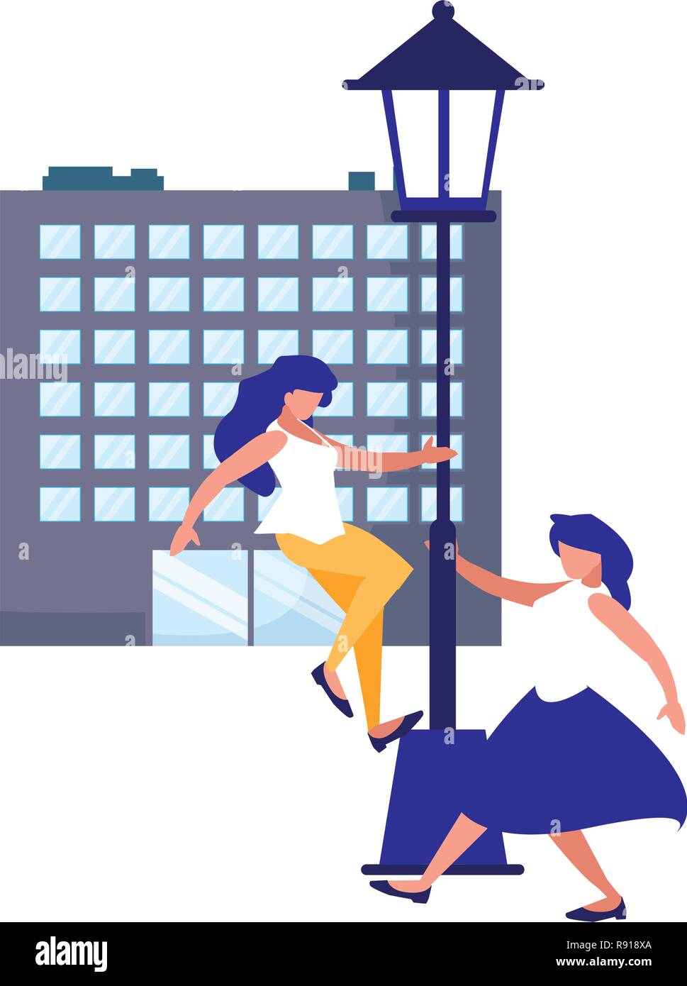women dancing in the city place vector illustration - Stock Vector