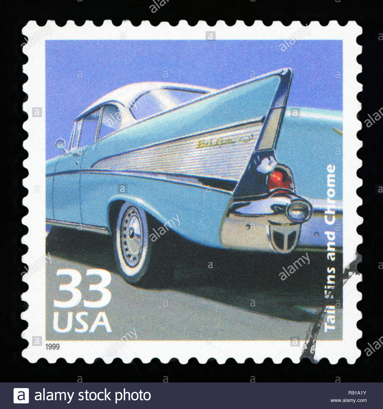 UNITED STATES OF AMERICA - CIRCA 1999: Stamp printed in USA , shows 'Tail Fins and chrome' , CIRCA1999. - Stock Image