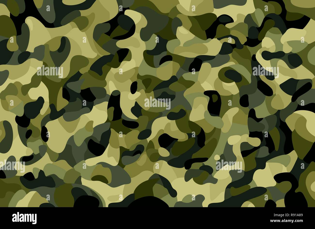 Camouflage background. Green, brown, black, olive colors forest texture. Trendy style camo. Print. Military Theme. Vector illustration. - Stock Image