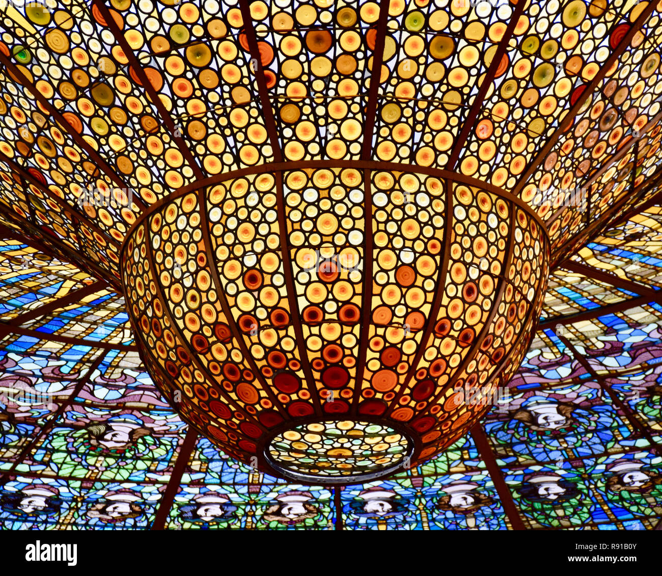 The Chandelier. Palace of Catalan Music, Palau de la​ Musica Catalana, Barcelona, Spain - Stock Image