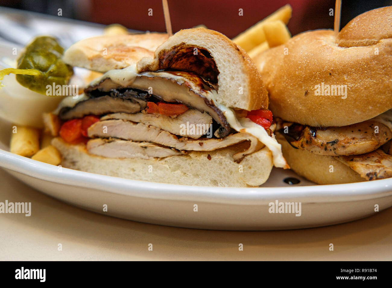 Grilled Portobello Mushroom Chicken Sandwich With Balsamic Vinaigrette Roasted Red Peppers And Provolone Cheese Stock Photo Alamy