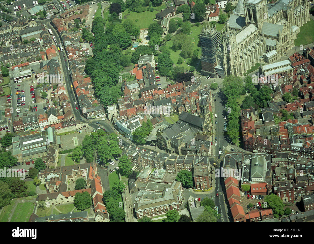 Aerial photo of the City of York showing York Minster - Stock Image