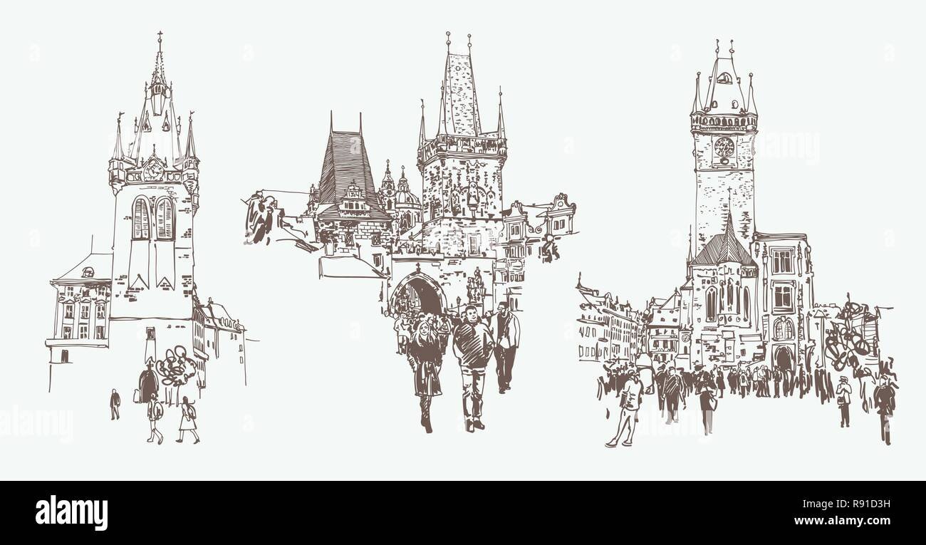 Digital Drawing Of A Historical Tower In Prague Czech Republic