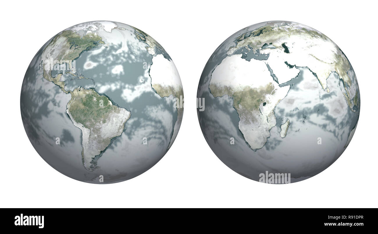 Ice age - Earth covered with snow - Stock Image