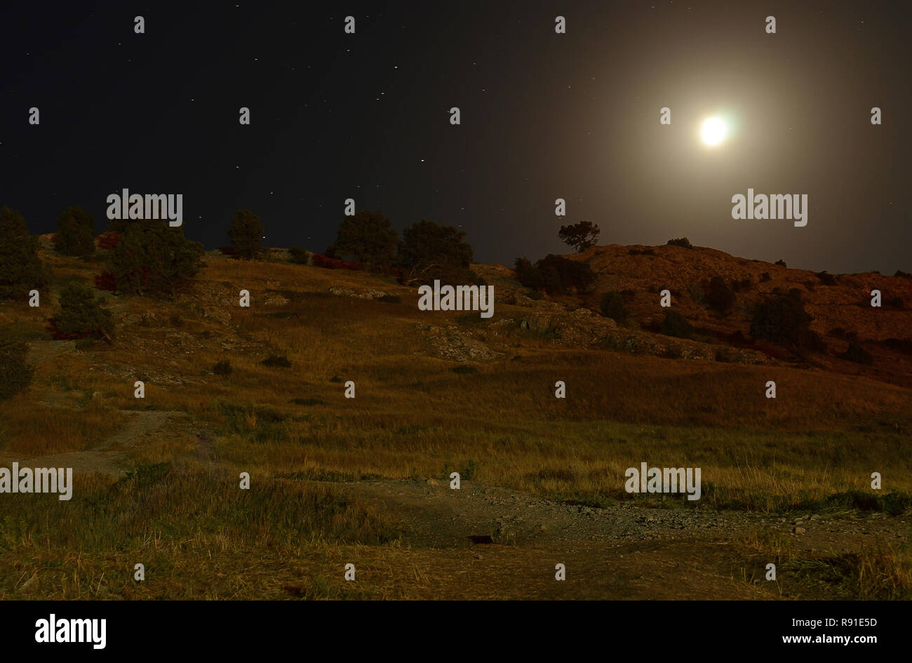 Night landscape in the mountains against the backdrop of a starry sky in summer - Stock Image