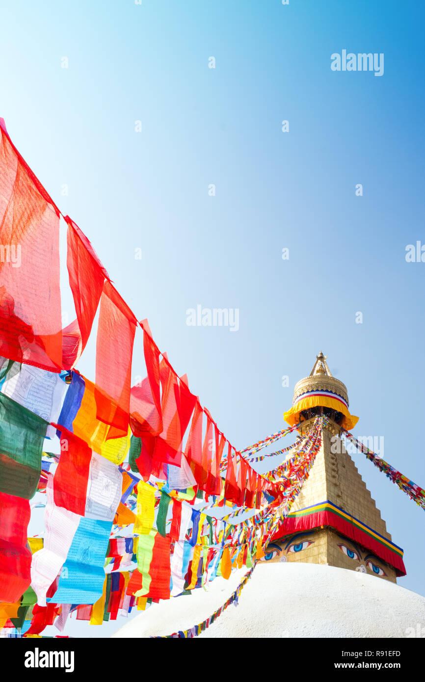 Bodhnath (Boudha ) , Asia's largest Buddhist stupa , Kathmandu, Nepal - Stock Image