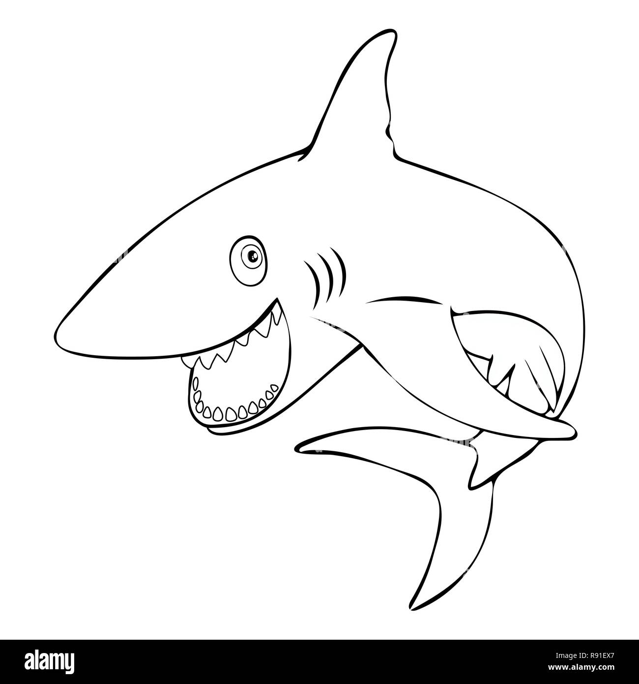 Shark Teeth Drawing Stock Photos & Shark Teeth Drawing Stock