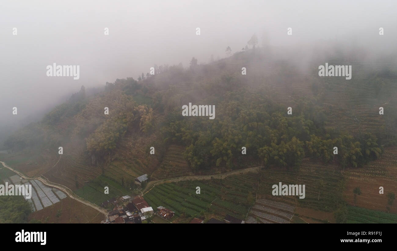 asian town in mountains among agricultural land, rice terraces, fog and clouds Java Indonesia. mountains with farmlands, rice fields, village, fields with crops, trees. Aerial view farm lands on mountainside. tropical landscape - Stock Image