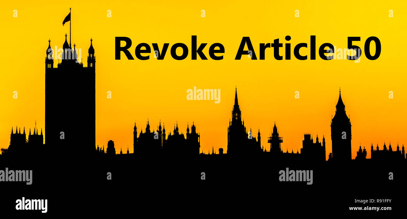 Big Ben and the Houses of Parliament at Westminster Palace, London, call to action to Revoke Article 50 for the UK to remain within the EU - Stock Image