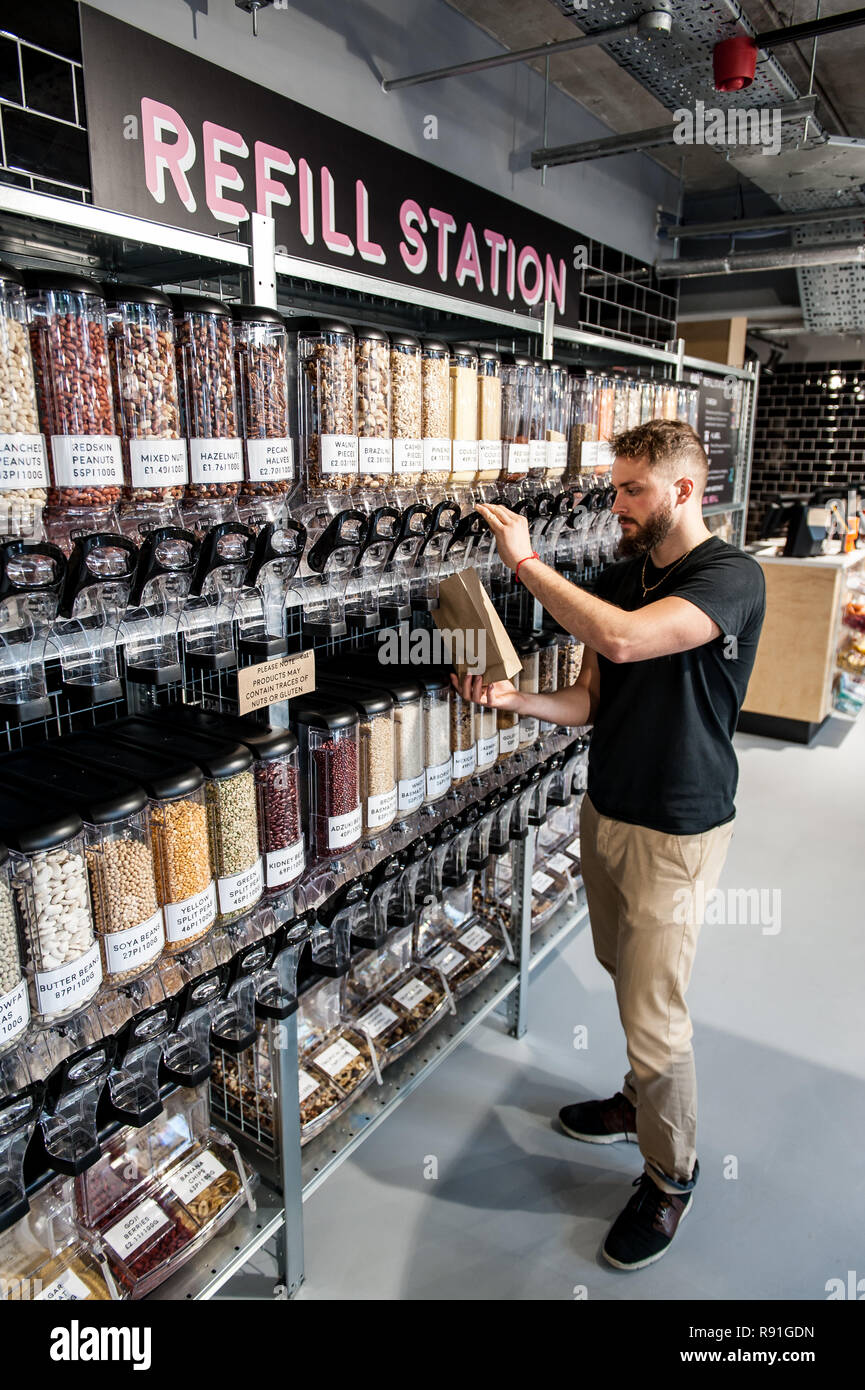 Selection of nuts and seeds at the refill station - Stock Image