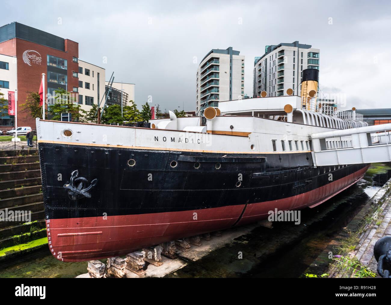 SS Nomadic ship in the city's Titanic Quarter, Belfast, Northern Ireland - Stock Image