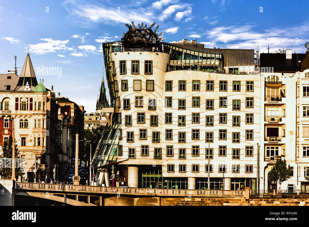 Dancing House of Prague, Czech Republic, view from the other ban Stock Photo