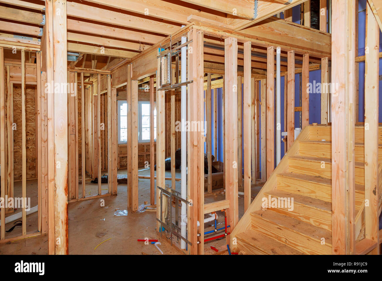 Wood Framing Work In Progress With Wood Framing Walls And Ceiling Or