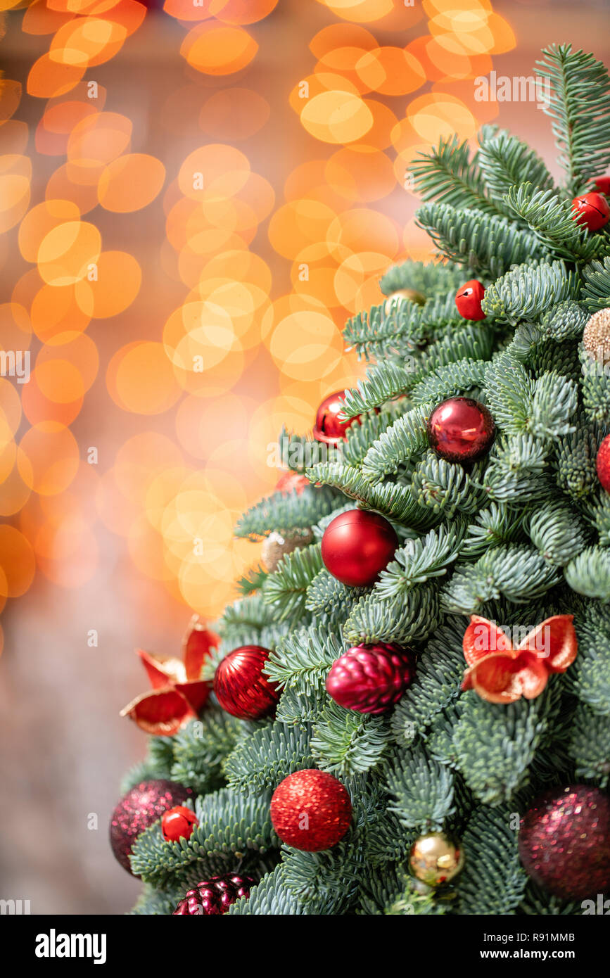 Beautiful Small Decorated Christmas Tree On Dark Wooden Table Happy Mood Garland Bokeh On Background Wallpaper Danish Pine And Fir Nobilis Stock Photo Alamy