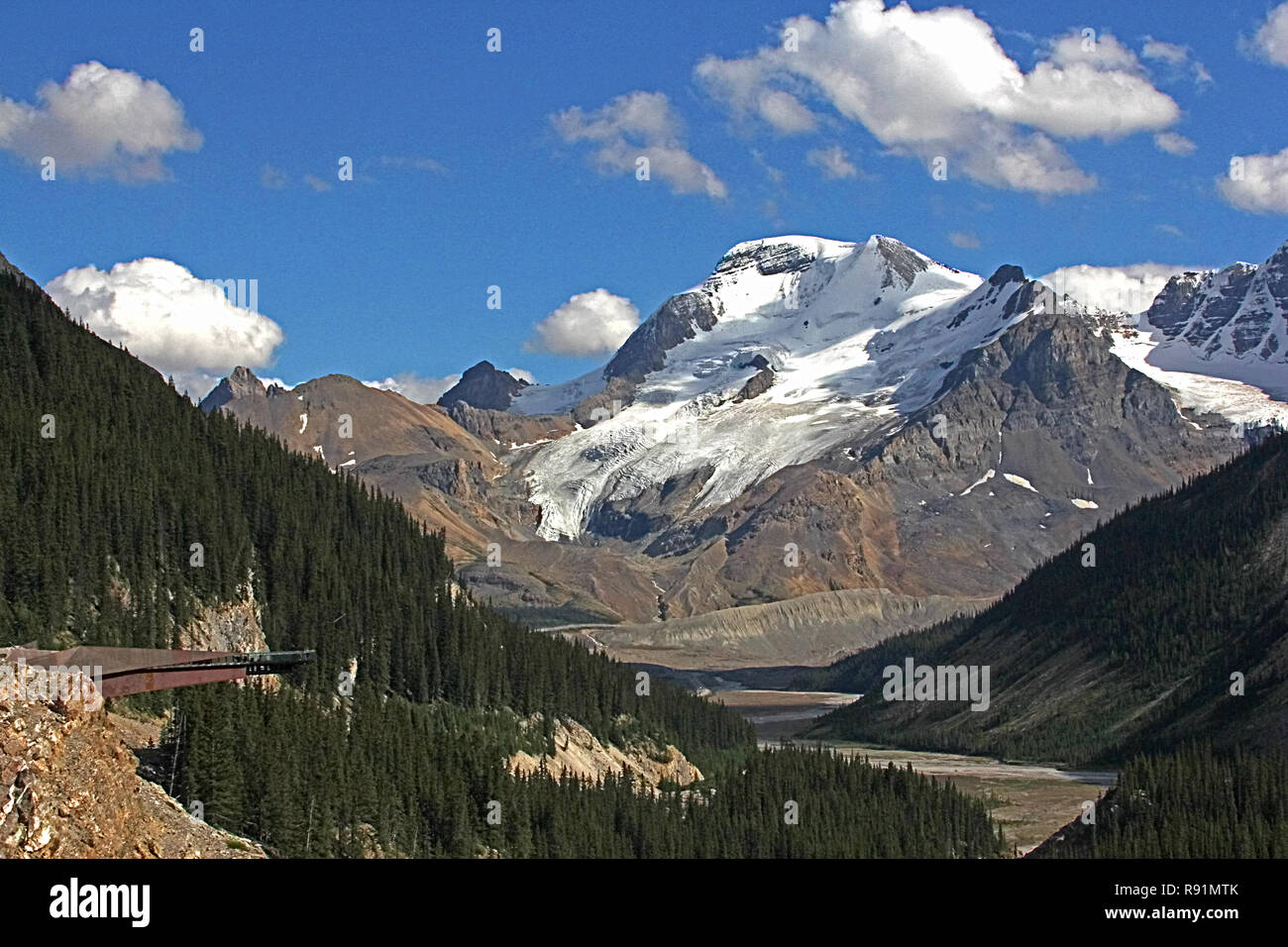 The Glacier Skywalk is  along Icefields Parkway, # 93,  from Banff to Jasper as it winds through the Canadian Rockies. - Stock Image