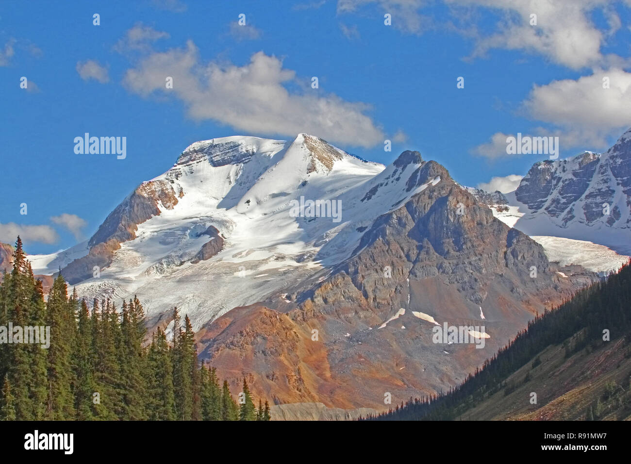 There are many spectacular viewpoints along Icefields Parkway, # 93,  from Banff to Jasper as it winds through the Canadian Rockies. - Stock Image