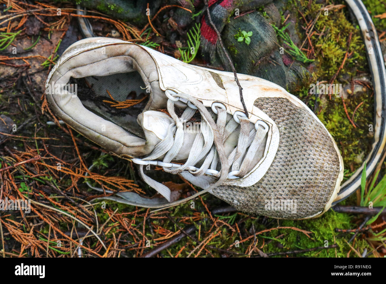 A discarded left foot white training shoe at the former IBM factory site in Spango Valley, Greenock, Scotland Stock Photo