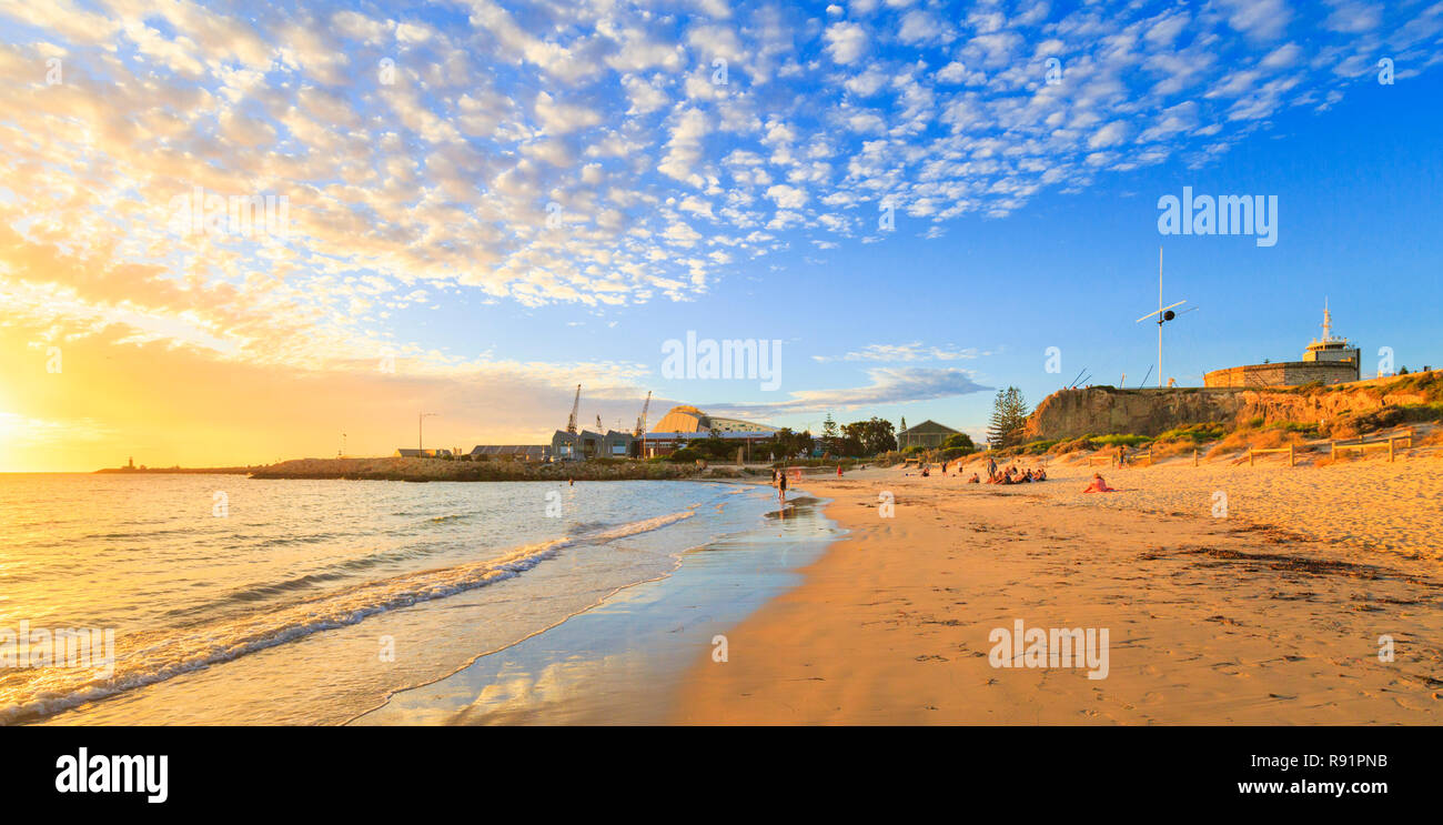 Fremantle, Australia. Bathers Beach, with the Roundhouse and WA Maritime Museum. - Stock Image