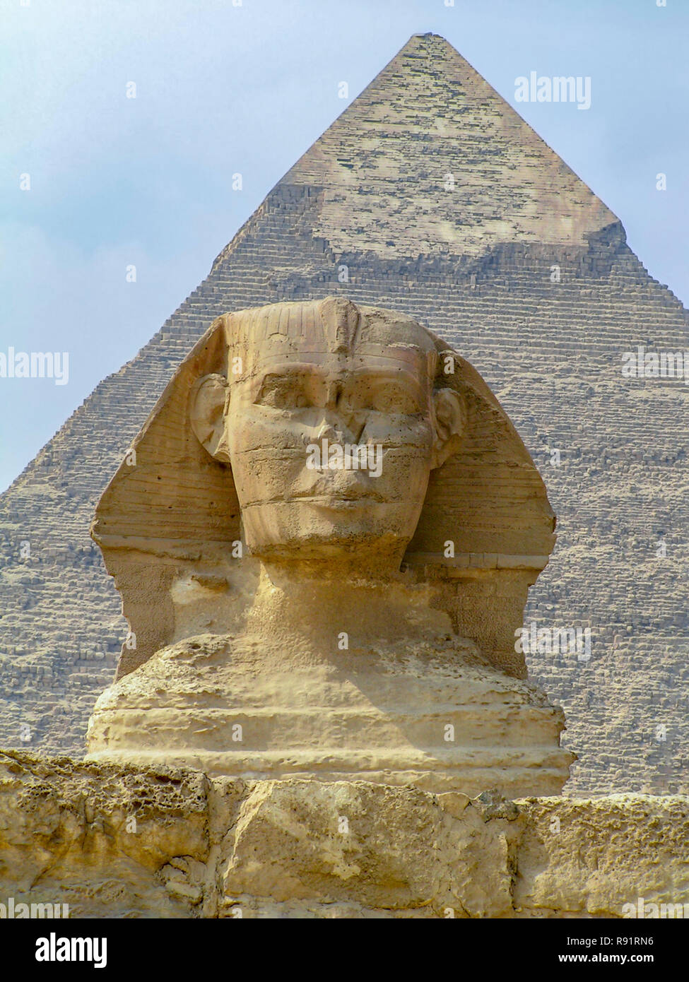 Sphinx and pyramids at Giza, Cairo, Egypt (UNESCO  world Heritage List) - Stock Image