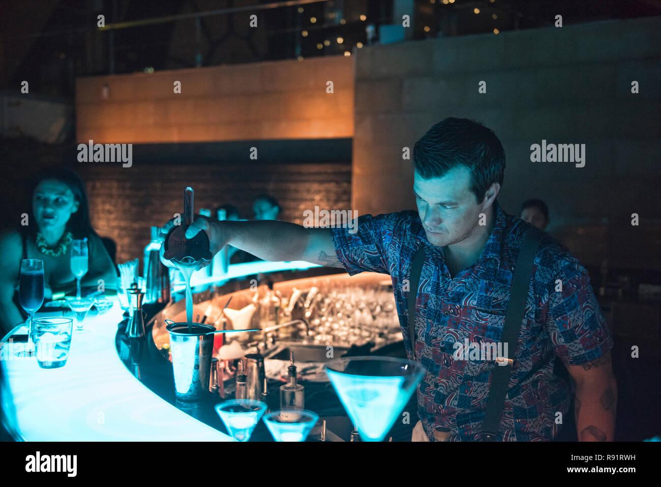 Mixing cocktails, Bangkok, Thailand - Stock Image