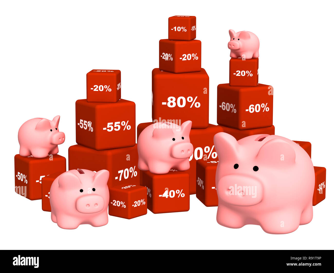 Piggy banks and goods at a discount. Objects over white - Stock Image