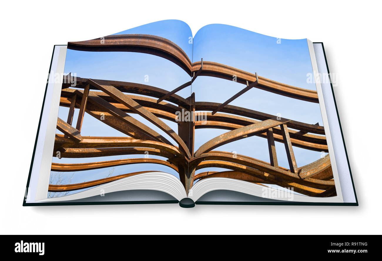 Old rusty iron structure -  Opened photobook isolated on white background - Stock Image